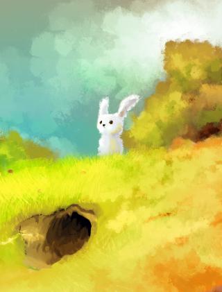 Cute White Bunny Painting - Obrázkek zdarma pro 640x960