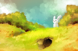 Cute White Bunny Painting - Obrázkek zdarma pro Android 2560x1600