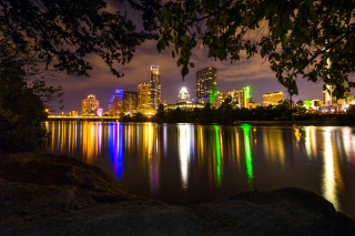 Free USA Skyscrapers Rivers Austin Texas Night Cities Picture for Android, iPhone and iPad