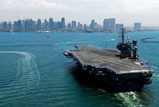 Military boats - USS Kitty Hawk Background for Android, iPhone and iPad