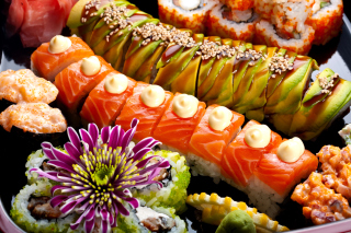Seafood Salmon Sushi Background for Android, iPhone and iPad