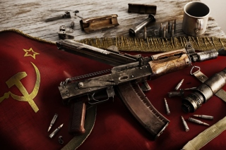 USSR Flag and AK 47 Kalashnikov rifle - Obrázkek zdarma pro Widescreen Desktop PC 1920x1080 Full HD