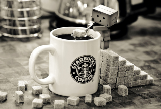 Danbo Loves Starbucks Coffee Picture for Android, iPhone and iPad