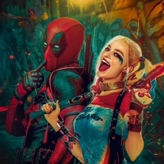 Deadpool, Ryan Reynolds, Wade Wilson, Harley Quinn - Obrázkek zdarma pro iPad Air
