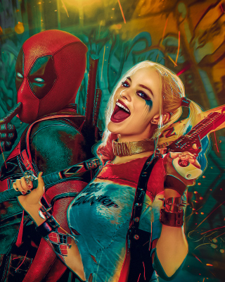 Deadpool, Ryan Reynolds, Wade Wilson, Harley Quinn - Obrázkek zdarma pro Nokia C1-01