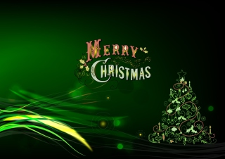Green Merry Christmas Background for Android, iPhone and iPad