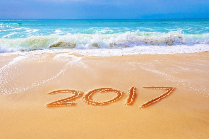 Happy New Year 2017 Phrase on Beach wallpaper