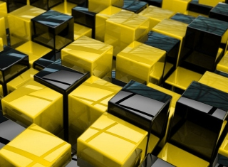 Yellow - Black Cubes Background for Android, iPhone and iPad