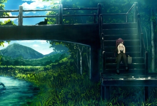 Girl Sitting On Bridge Stairs Wallpaper for Android, iPhone and iPad