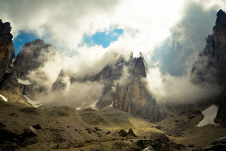 Mountains Peaks in Fog, Landscape Background for Android, iPhone and iPad