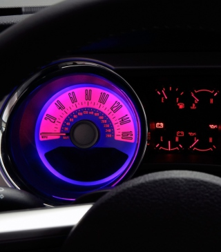 Retro Neon Speedometer - Obrázkek zdarma pro 240x320