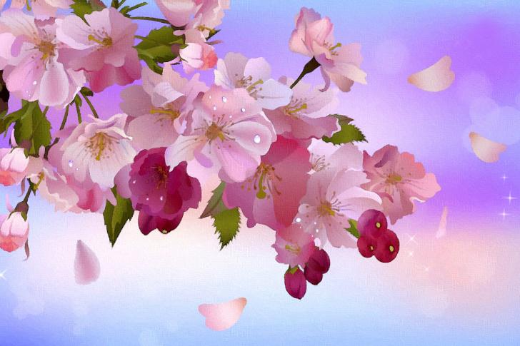 Painting apple tree in bloom wallpaper