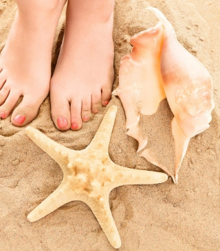 Seashell, Seastar And Sandy Feet - Obrázkek zdarma pro Nokia X1-00