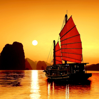 Halong Bay, Vietnama in Sunset - Obrázkek zdarma pro 128x128