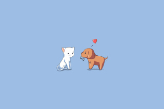 Dog And Cat On Blue Background - Obrázkek zdarma pro Android 640x480