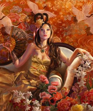 Drawn Painted Lady - Obrázkek zdarma pro Nokia Asha 202