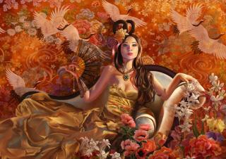 Drawn Painted Lady - Obrázkek zdarma pro Desktop Netbook 1024x600
