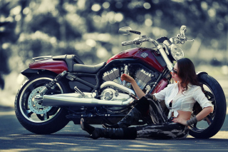 Girl And Her Motorcycle Wallpaper for Android, iPhone and iPad