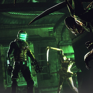 Isaac Clarke in Dead Space battle Necromorphs - Obrázkek zdarma pro 320x320