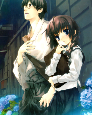 Anime Girl and Guy with kitten - Obrázkek zdarma pro 768x1280