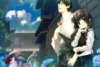Anime Girl and Guy with kitten - Obrázkek zdarma pro Motorola DROID 3