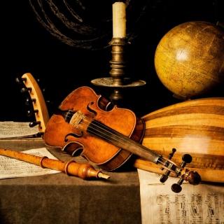 Still life with violin and flute - Obrázkek zdarma pro 1024x1024