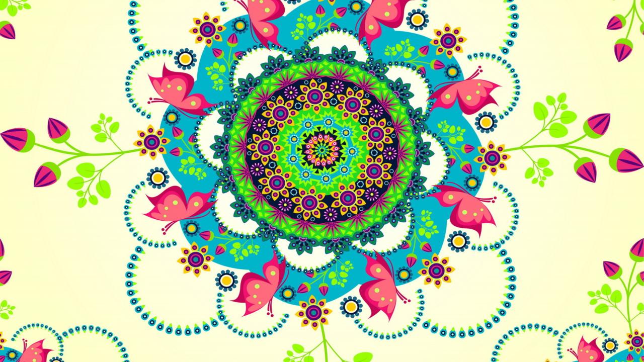 Mandala flowers wallpaper for desktop 1280x720 hdtv