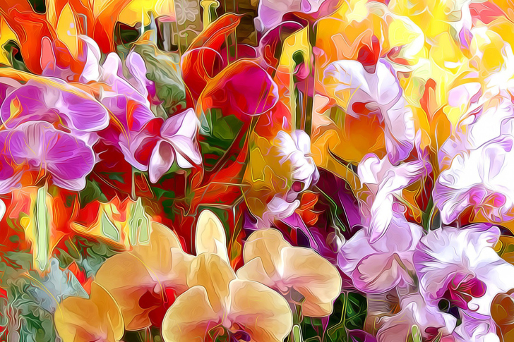 Beautiful flower drawn by oil color on canvas wallpaper