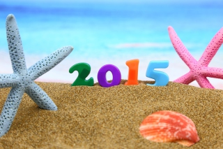 Happy New Year 2015 on Beach Wallpaper for Android, iPhone and iPad