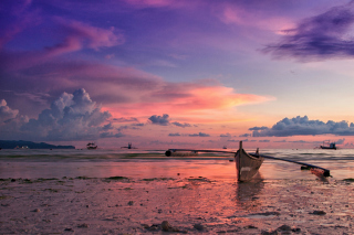 Pink Sunset And Boat At Beach In Philippines Wallpaper for Android, iPhone and iPad