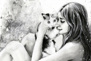 Girl With Cat Black And White Painting Wallpaper for Android, iPhone and iPad