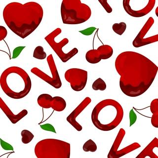 Love Cherries and Hearts - Obrázkek zdarma pro iPad Air
