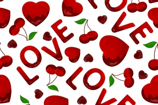Love Cherries and Hearts - Obrázkek zdarma pro Widescreen Desktop PC 1920x1080 Full HD