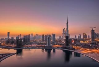Картинка UAE Dubai Skyscrapers Sunset на андроид