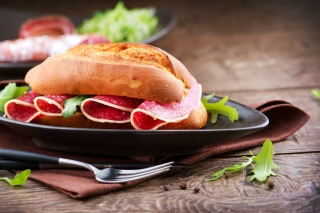 Sandwich with salami Picture for Android, iPhone and iPad