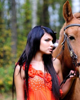 Girl with Horse - Obrázkek zdarma pro 320x480