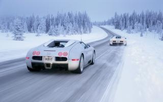 Bugatti Veyron In Winter - Obrázkek zdarma pro HTC One X