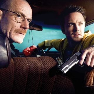 Jessie Pinkman Aaron Paul and Walter White Bryan Cranston Heisenberg in Breaking Bad - Obrázkek zdarma pro iPad 2