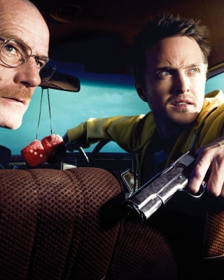 Jessie Pinkman Aaron Paul and Walter White Bryan Cranston Heisenberg in Breaking Bad - Obrázkek zdarma pro iPhone 6