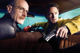 Jessie Pinkman Aaron Paul and Walter White Bryan Cranston Heisenberg in Breaking Bad - Obrázkek zdarma pro Samsung Galaxy Tab 3