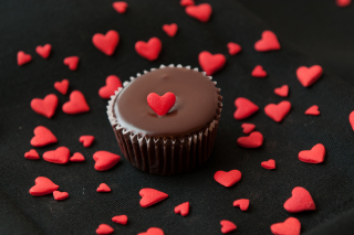 Free Chocolate Cupcake With Red Heart Picture for Android, iPhone and iPad