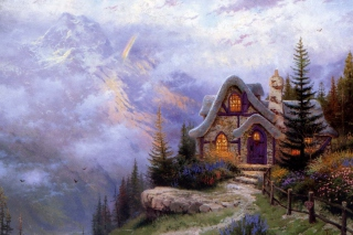 Thomas Kinkade Sweetheart Cottage Painting Picture for Android, iPhone and iPad