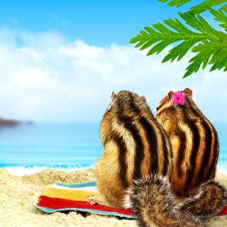 Chipmunks on beach - Obrázkek zdarma pro iPad