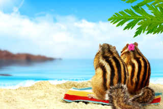 Chipmunks on beach Background for Android, iPhone and iPad