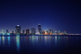 Miami Skyline Night Background for Android, iPhone and iPad