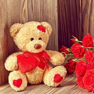 Brodwn Teddy Bear Gift for Saint Valentines Day - Obrázkek zdarma pro 2048x2048