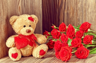 Brodwn Teddy Bear Gift for Saint Valentines Day - Obrázkek zdarma pro Widescreen Desktop PC 1680x1050