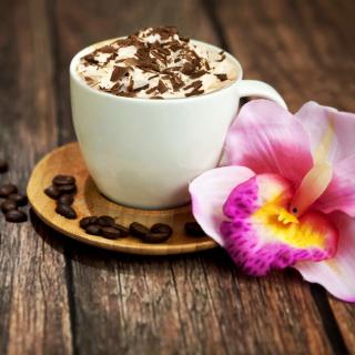 Coffee beans and flower - Obrázkek zdarma pro iPad
