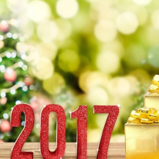 2017 New Year with Gold Gift - Obrázkek zdarma pro iPad
