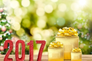 2017 New Year with Gold Gift - Obrázkek zdarma pro Widescreen Desktop PC 1280x800